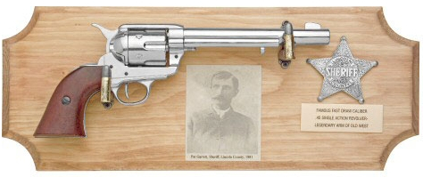 Pat Garrett Framed Set - SAA Cavalry Model Revolver, photo of Pat Garrett and replica Lincoln County Badge on wood plaque