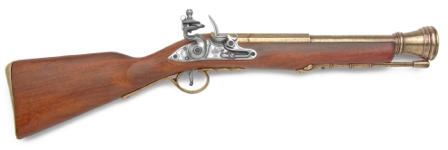 18th Century Pirate Flintlock Blunderbuss,brass finish barrel and pewter finish flintlock, real wood stock