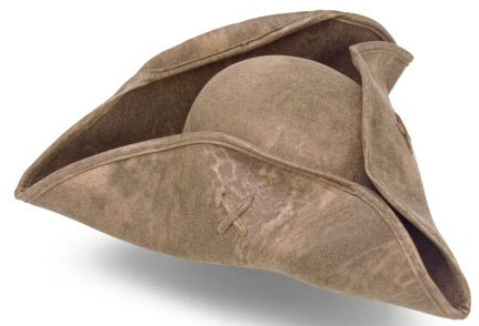 Leatherette Tricorn hat, great for Rev War reenactments or Renfaire pirates