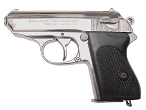 Walther PPK, nickel with black textured grips