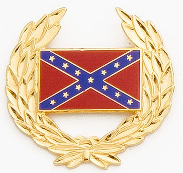 Rebel Flag Hat Pin, gold wreath, color enamel rebel flag in center