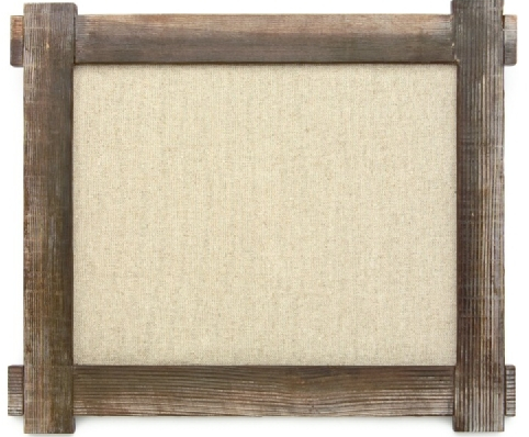 Rustic wood frame with burlap backing for mounting replica gun wall displays