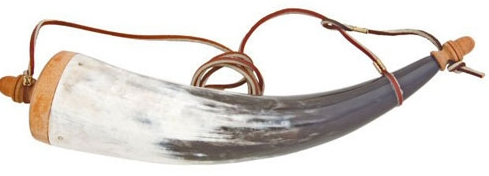 Powder Horn made from real steer horn, removable wooden stopper, 10 inches long, sold with gun purchase only
