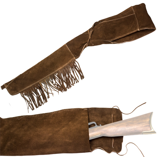 Rifle scabbard in dark brown suede leather