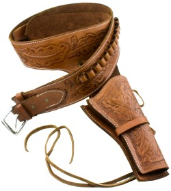 Saddle tan fast-draw tooled leather holster and gunbelt.