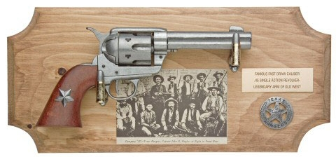 Texas Ranger Framed Set - Lone Star Edition 1873 Model Single Action Revolver and  light wood frame
