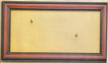 Walnut Display Frame for Revolvers, black edges, velvet-like tan backing, brass mounting studs included