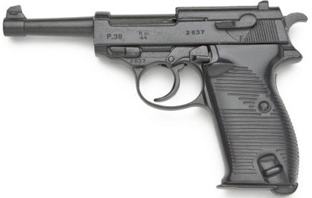 WWII German P38 Semi-Automatic Blank-firing Pistol, black with black composite grip